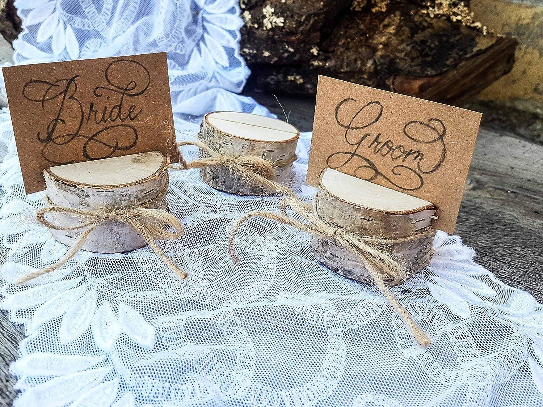 Set of 10 birch place card holders birch card holder name card holders rustic chic rustic wood card holder 10 card holders shabby chic natural card holders scandinavian card holders