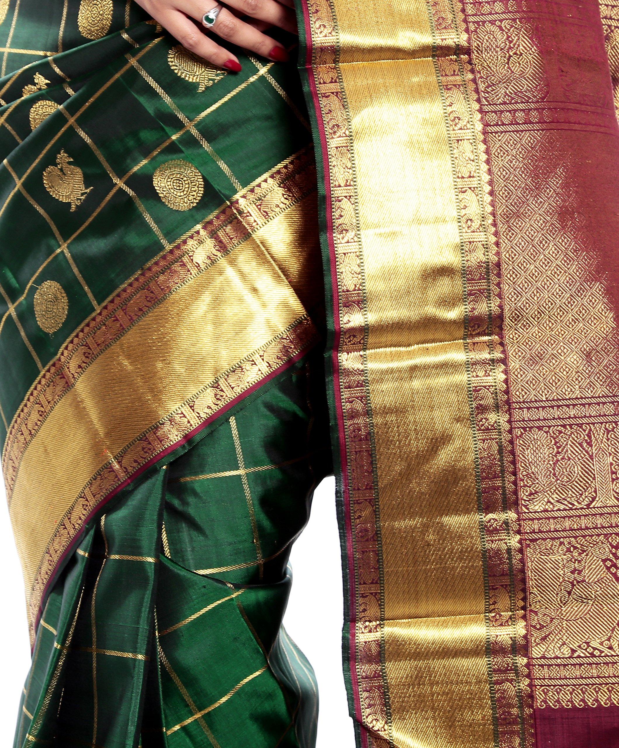 Mandakini — Indian Women's Kanchipuram - Handloom - Pure Zari & Pure Silk Saree (Dark green ) (MK210) by Mandakini (Image #4)
