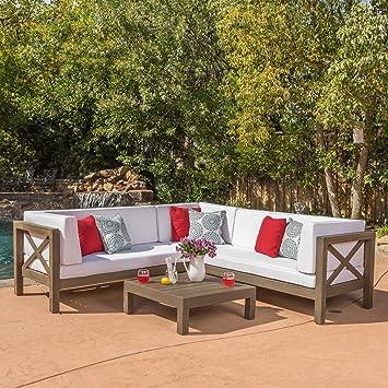 Amazoncom Levanto 4 Piece Outdoor XBack Wood Sectional Set w