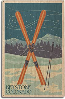 product image for Keystone, Colorado - Crossed Skis - Letterpress (10x15 Wood Wall Sign, Wall Decor Ready to Hang)