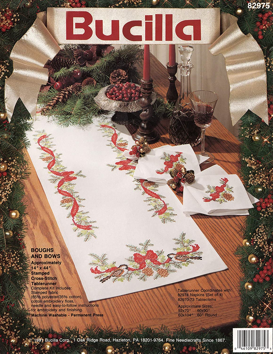 Bucilla Stamped Cross Stitch Tablerunner Kit 82975 Boughs and Bows
