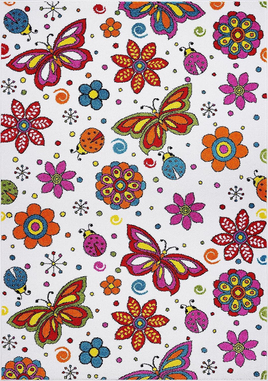 Cream//Multi Ladole Rugs Butterflies Flowers Pattern Area Rug Carpet for Kids in Cream and Multicolor 120cm x 160cm 311 x 53 311 x 53, 120cm x 160cm 4x6
