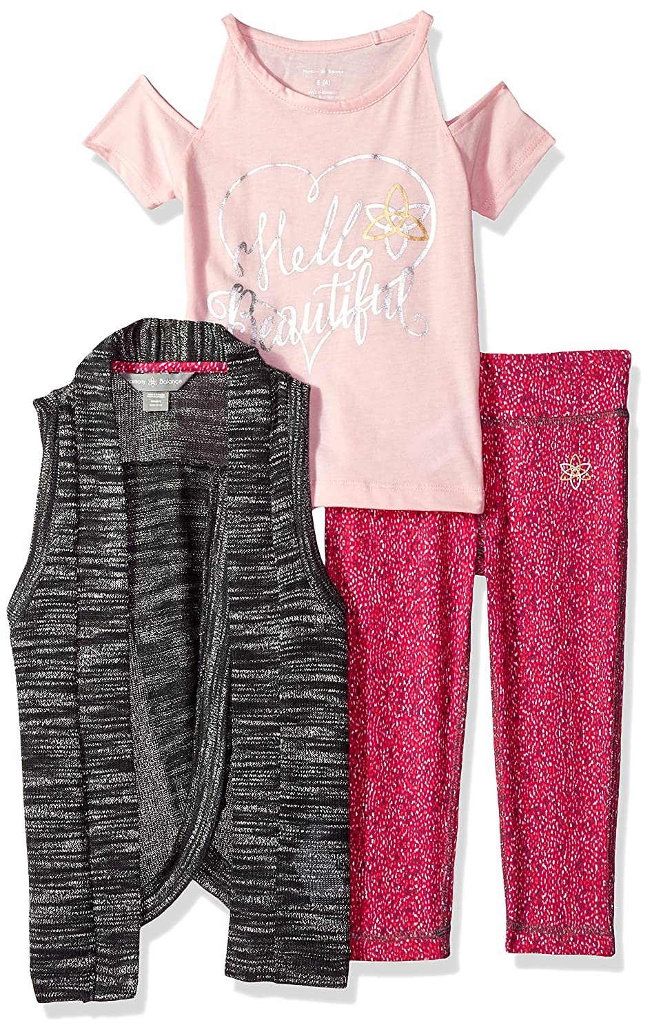 Tee and Legging Set Harmony and Balance Girls 3 Piece Vest