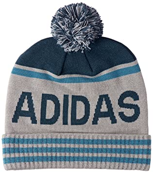 5aa2f4f443724 Adidas 2017 Mens Pom Golf Beanie Winter Bobble Hat Grey   Petrol Night