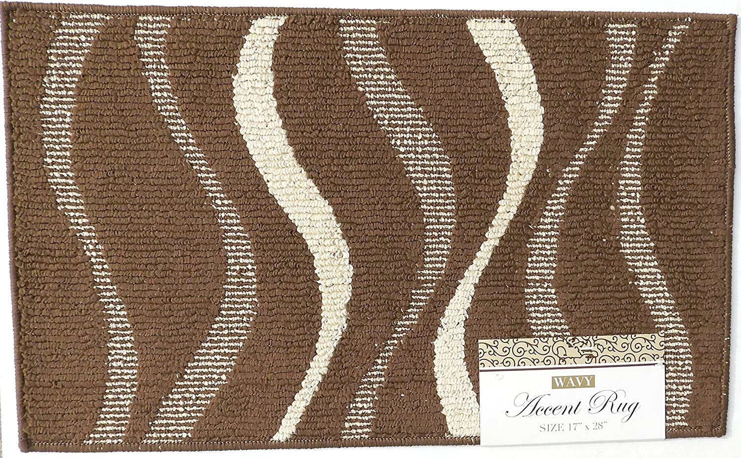 DINY Home /& Style Accent Rug Wavy Design Turquoise with Beige Waves 17 x 28 Machine Washable Latex Backing