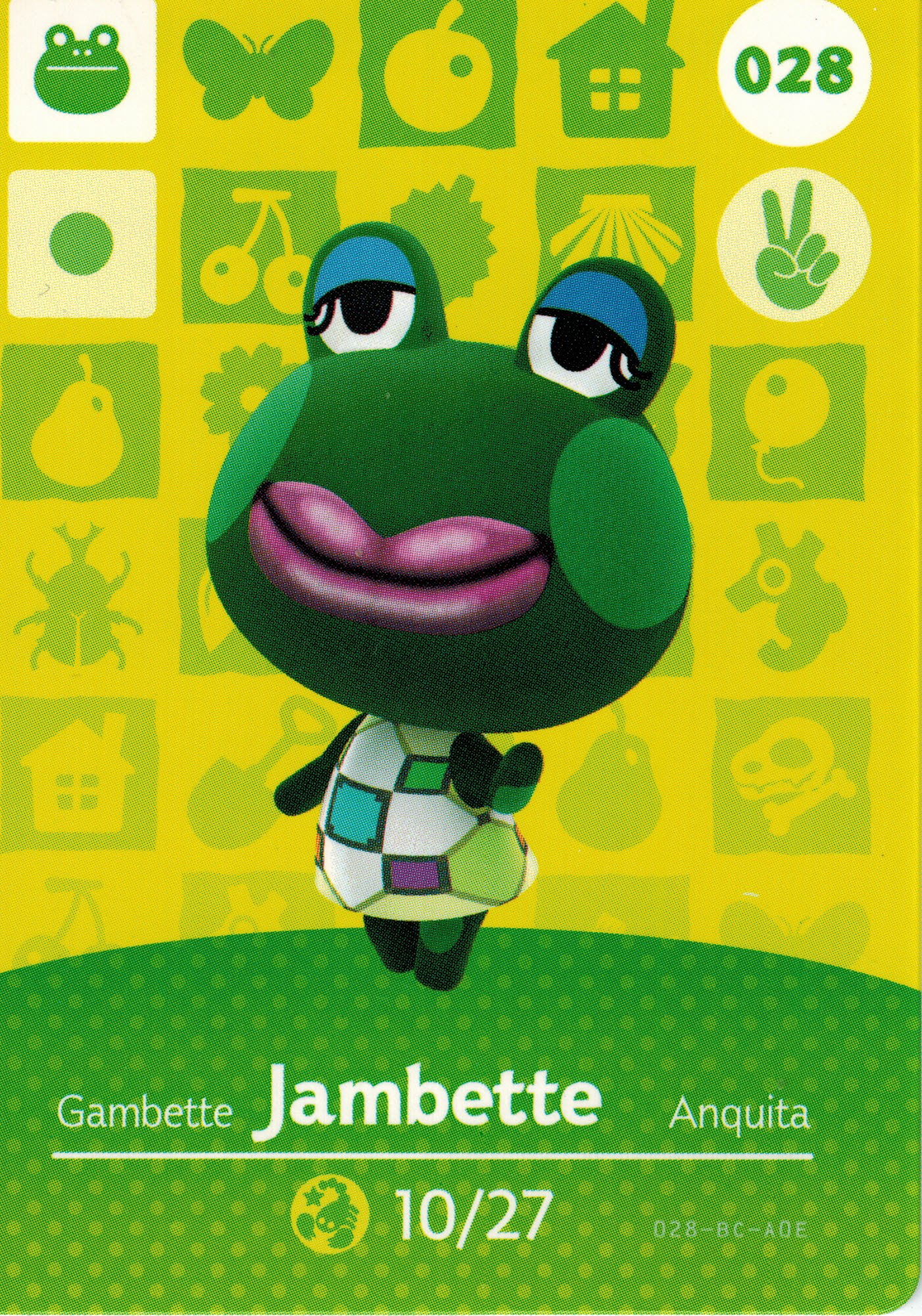 Nintendo Animal Crossing Happy Home Designer Amiibo Card Jambette 028/100 USA Version