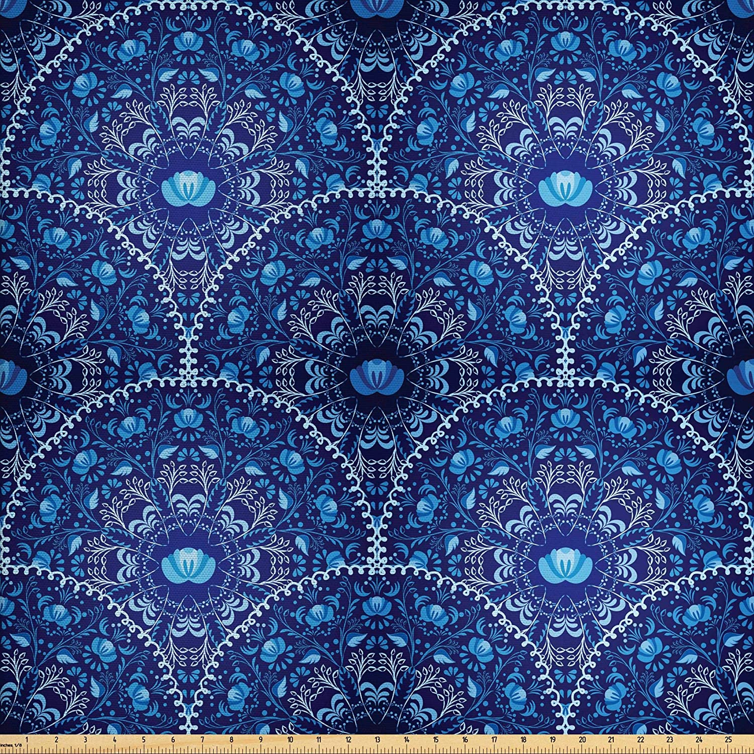 Ambesonne Navy Blue Fabric by The Yard, Circular and Floral Alike Oriental Style Patterned Design Artwork, Decorative Fabric for Upholstery and Home Accents, 5 Yards, Blue Navy