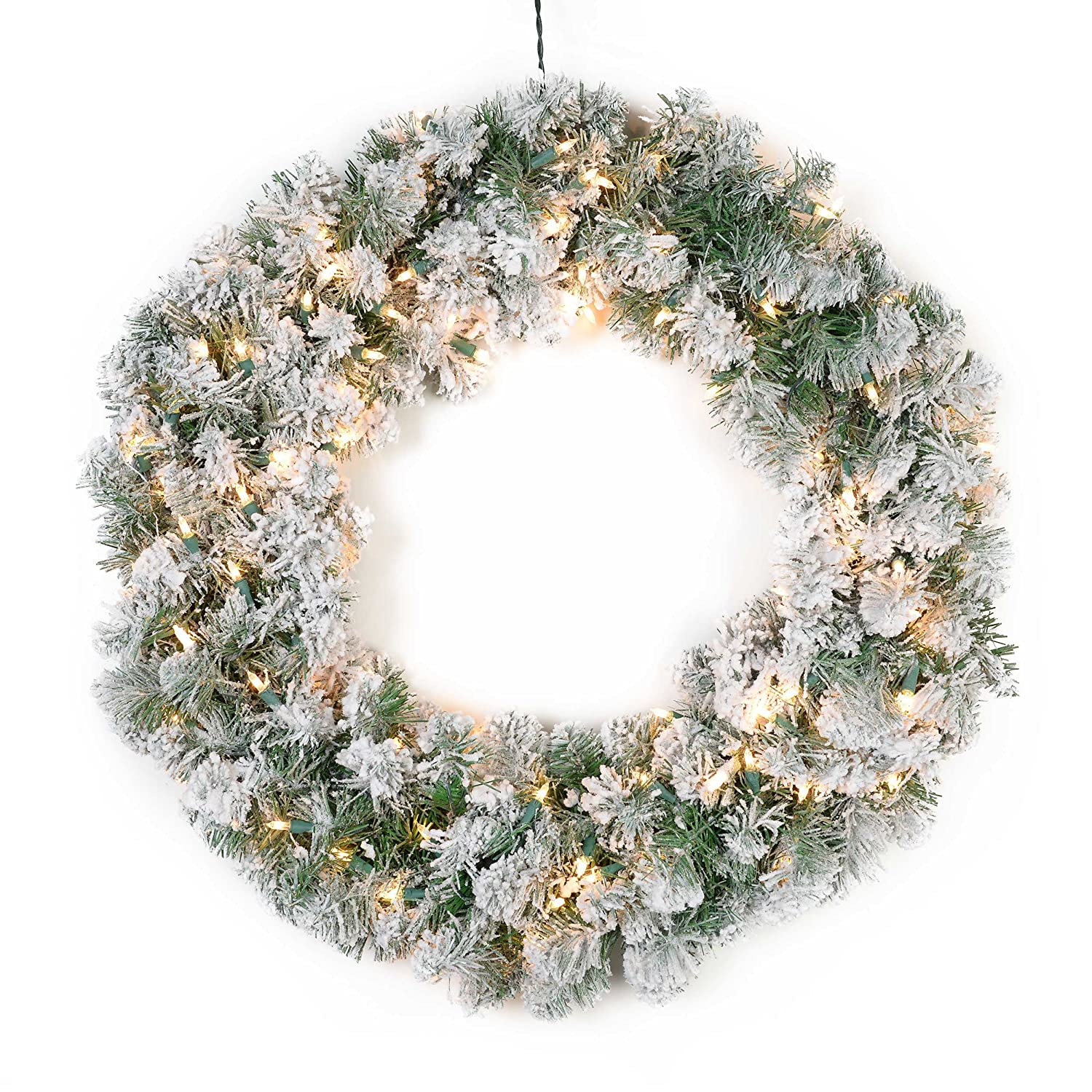 Bethlehem lights wreath battery operated - Amazon Com 24 Pre Lit Snowy Pine Flocked Artificial Christmas Wreath Clear Lights Home Kitchen