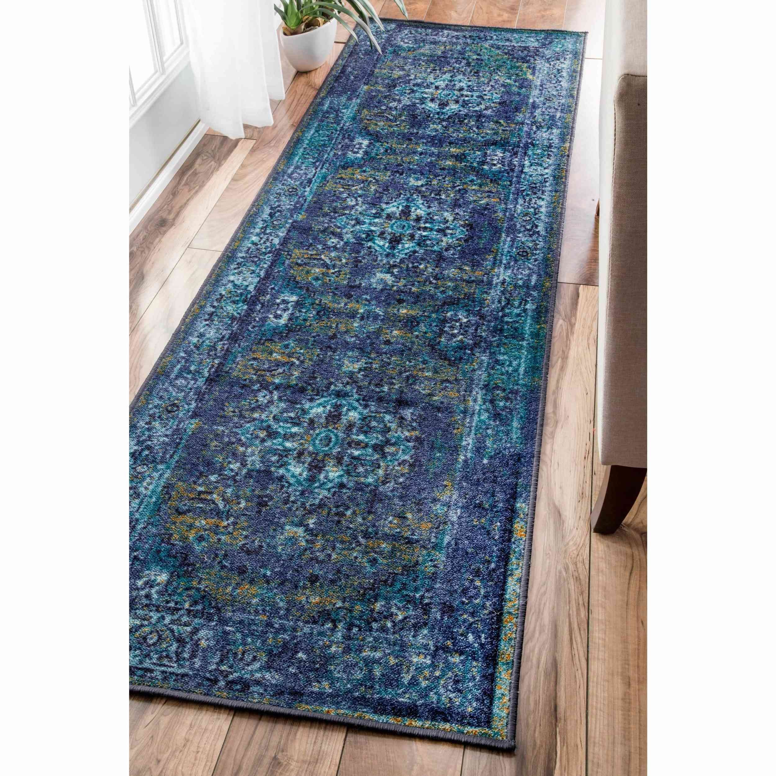 un 2'6 x 8'6 Oriental Bohemian Floral Overdyed Patterned Abstract Teal Blue Multi Runner Rug, Soft Polypropylene Fancy Country Northern Ocean Water Color, Rectangle Living Room Kitchen Accent Carpet
