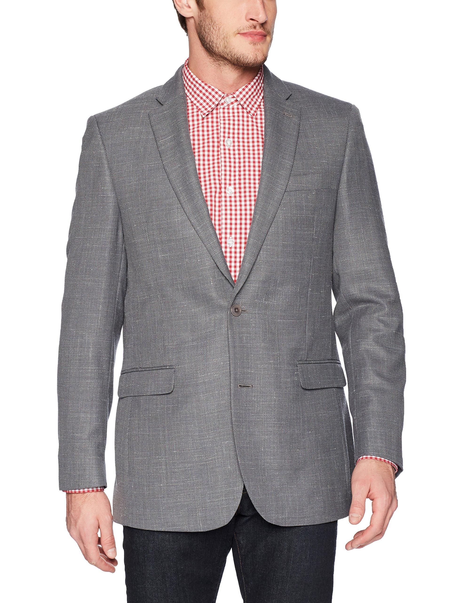 Tommy Hilfiger Men's Single Breast Solid Two Button Blazer, Gray Weave, 38 Regular