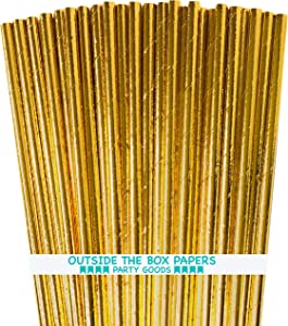 Gold Foil Paper Straws - 7.75 Inches - Pack of 100 - Outside the Box Papers Brand