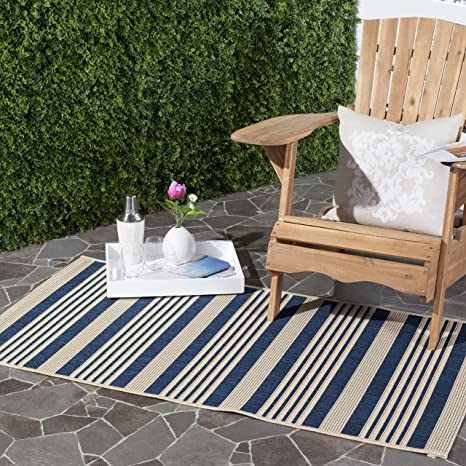 Amazon Com Safavieh Courtyard Collection Cy6062 268 Navy And Beige