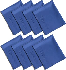 Wisdompro 8-Pack 6x7 Inches Microfiber Cleaning Cloth for Camera Lens, Glasses, Phone, iPhone, iPad, Tablet, Laptop, LCD TV, Computer Screen, Monitor and Other Electronics Device - Blue