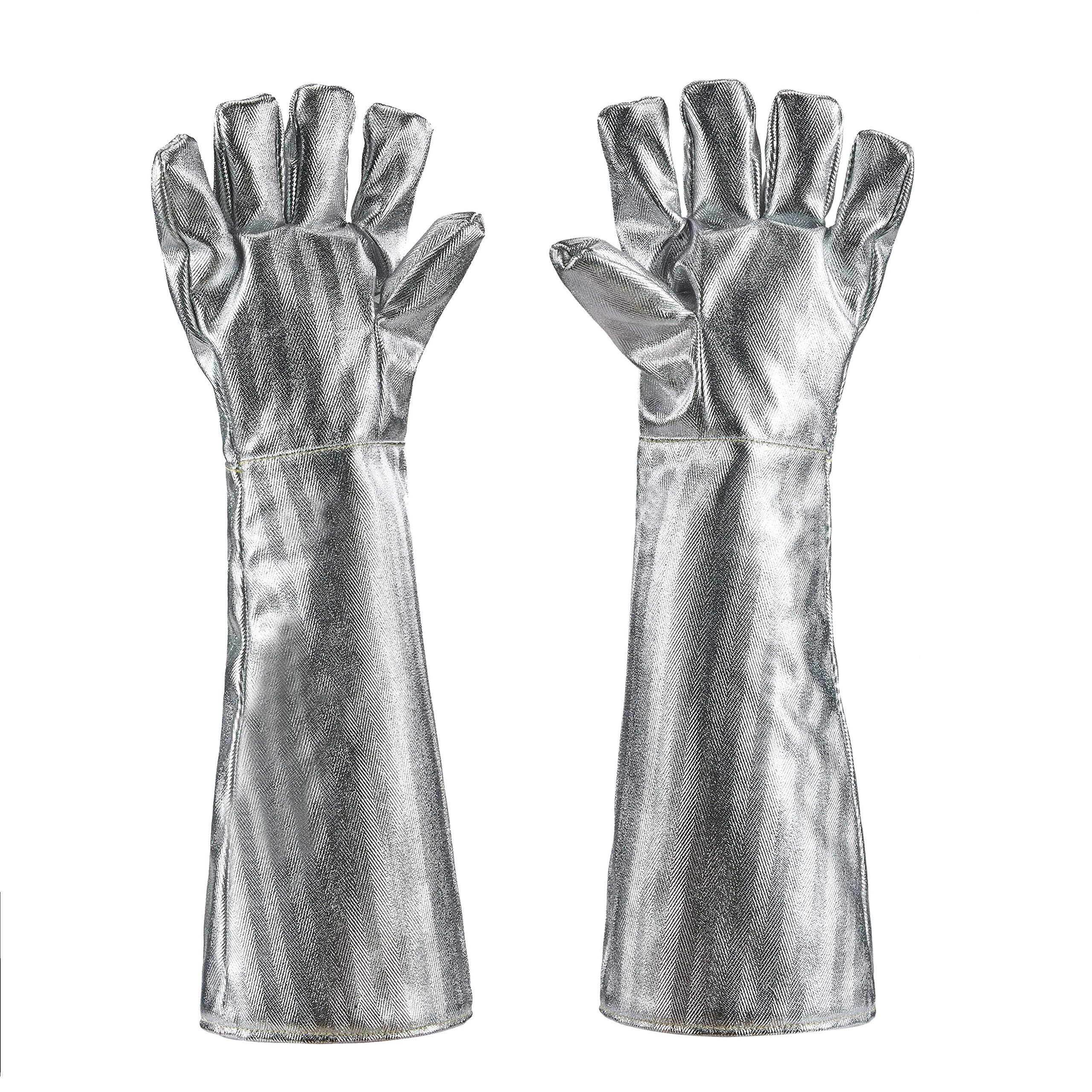 Holulo High Temperature Kevlar Aluminized Glove Heat Resistant Glove Welding Gloves Safety Work Glove (XL-55CM)
