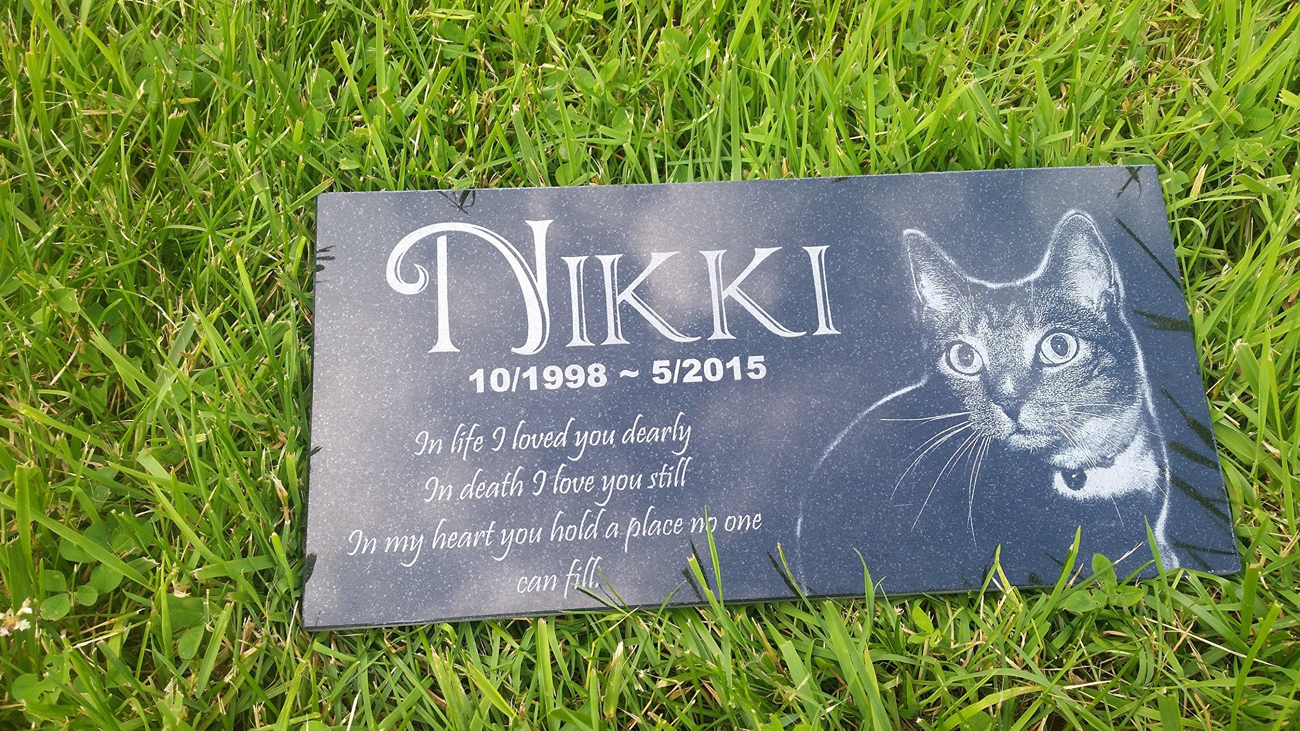 Personalized Pet Stone Memorial Marker Granite Marker Dog Cat Horse Bird Human 6'' X 12''