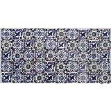 Pacco da 50 Mattonelle Messicane Talavera Fatte a Mano da 5 cm: Azul y Blanco