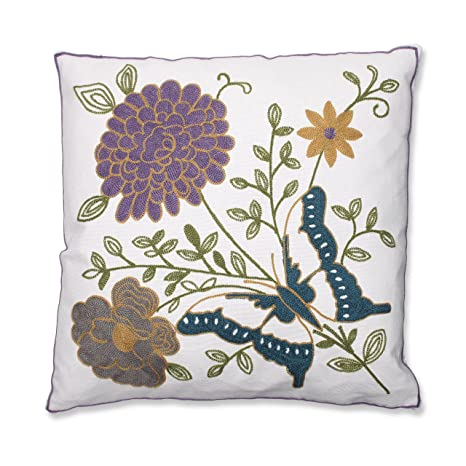 Amazon.com: Almohada perfecto mariposa floral bordado Throw ...