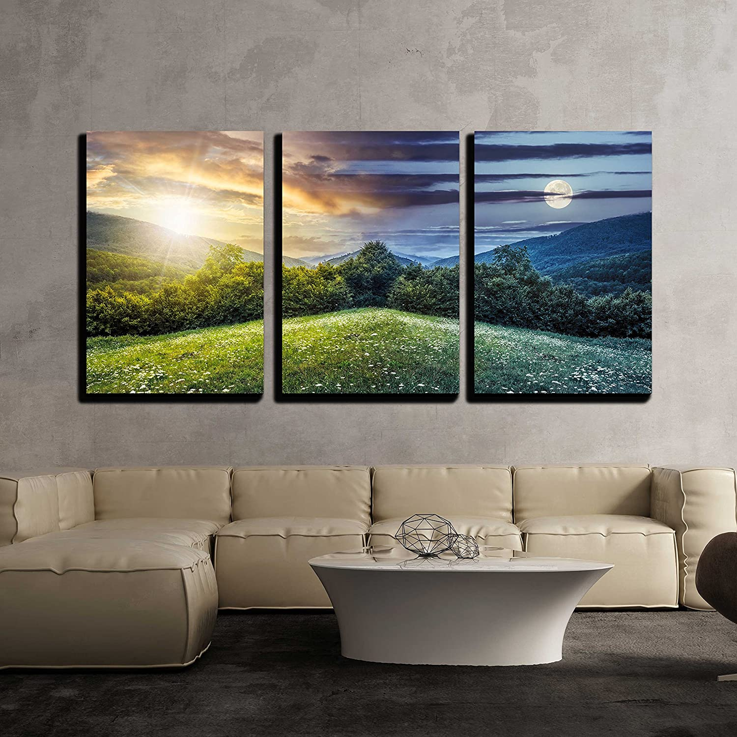 "wall26 - 3 Piece Canvas Wall Art - Trees on Hillside of Mountain Range with Coniferous Forest and Flowers on Meadow - Modern Home Art Stretched and Framed Ready to Hang - 16""x24""x3 Panels"