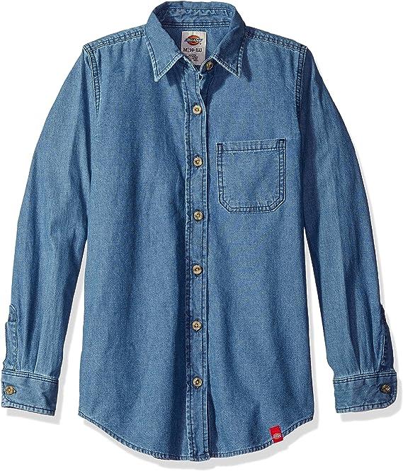 Dickies Camisa con Botones para Uniforme Escolar para Niñas