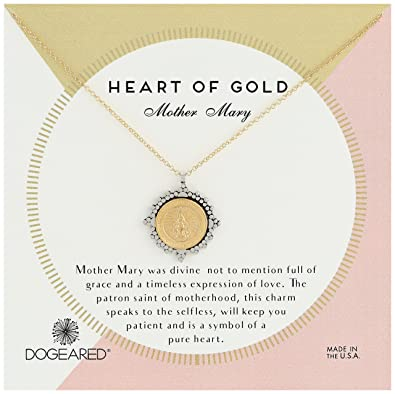 Amazon Dogeared Heart Of Gold Our Mother Mary 2 Tone Saints