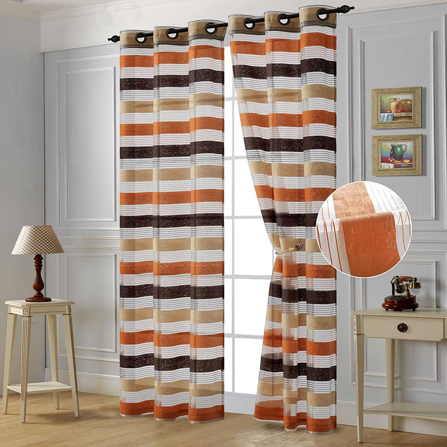 Editex Home Textiles Pamela Chenille Curtain Panel with Grommets, Orange, Set of 2