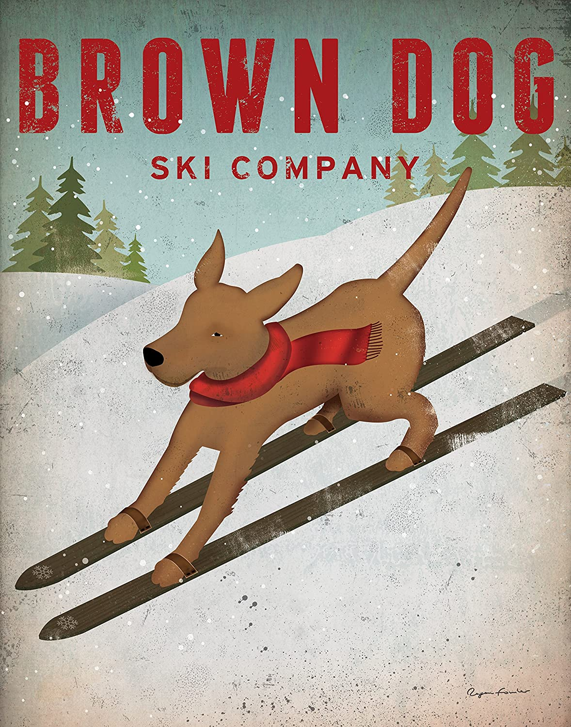 Popular Brown Dog Ski Company Print by Ryan Fowler; One 8x10in Paper Poster Print
