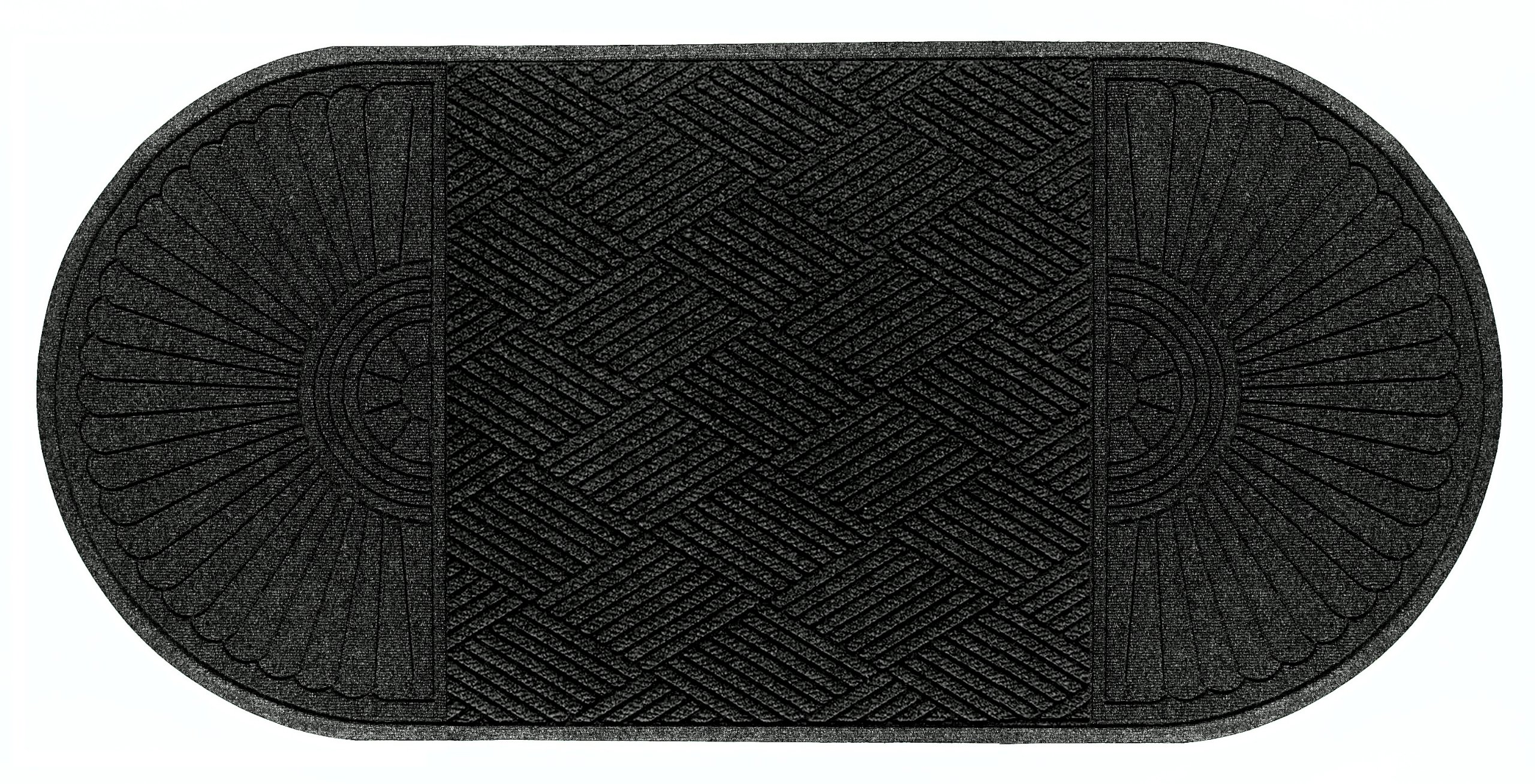 Andersen 274 Waterhog Grand Classic Polypropylene Fiber Double Ends Entrance Indoor/Outdoor Floor Mat, SBR Rubber Backing, 10.1' Length x 6' Width, 3/8'' Thick, Charcoal