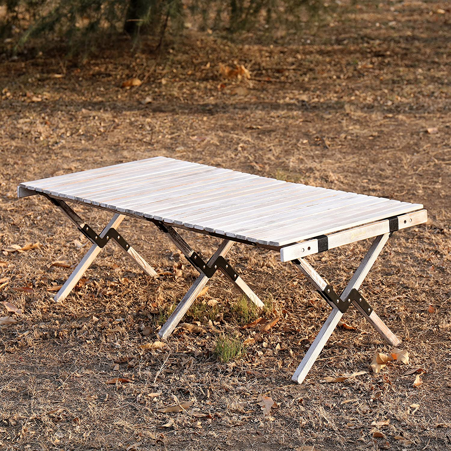 ZHONGLU CRAFTS Folding Table Camping Table Picnic Bench Portable Outdoor Indoor Wooden Picnic Table,Travel, Beach,Garden BBQ-Table in a Bag(Rustic White)