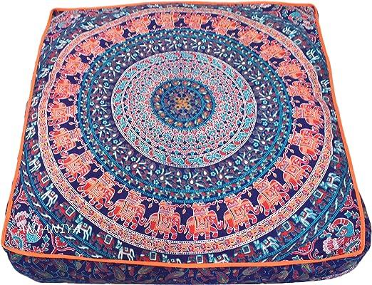 Large Floor Cushion Pillow Cover Multi Star Mandala Square Room Decorative Throw