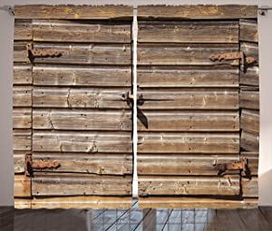 Ambesonne Rustic Curtains, Old Wooden Aged Barn Door with Padlock Abandoned Vintage Farmhouse Rural Village Photo, Living Room Bedroom Window Drapes 2 Panel Set, 108