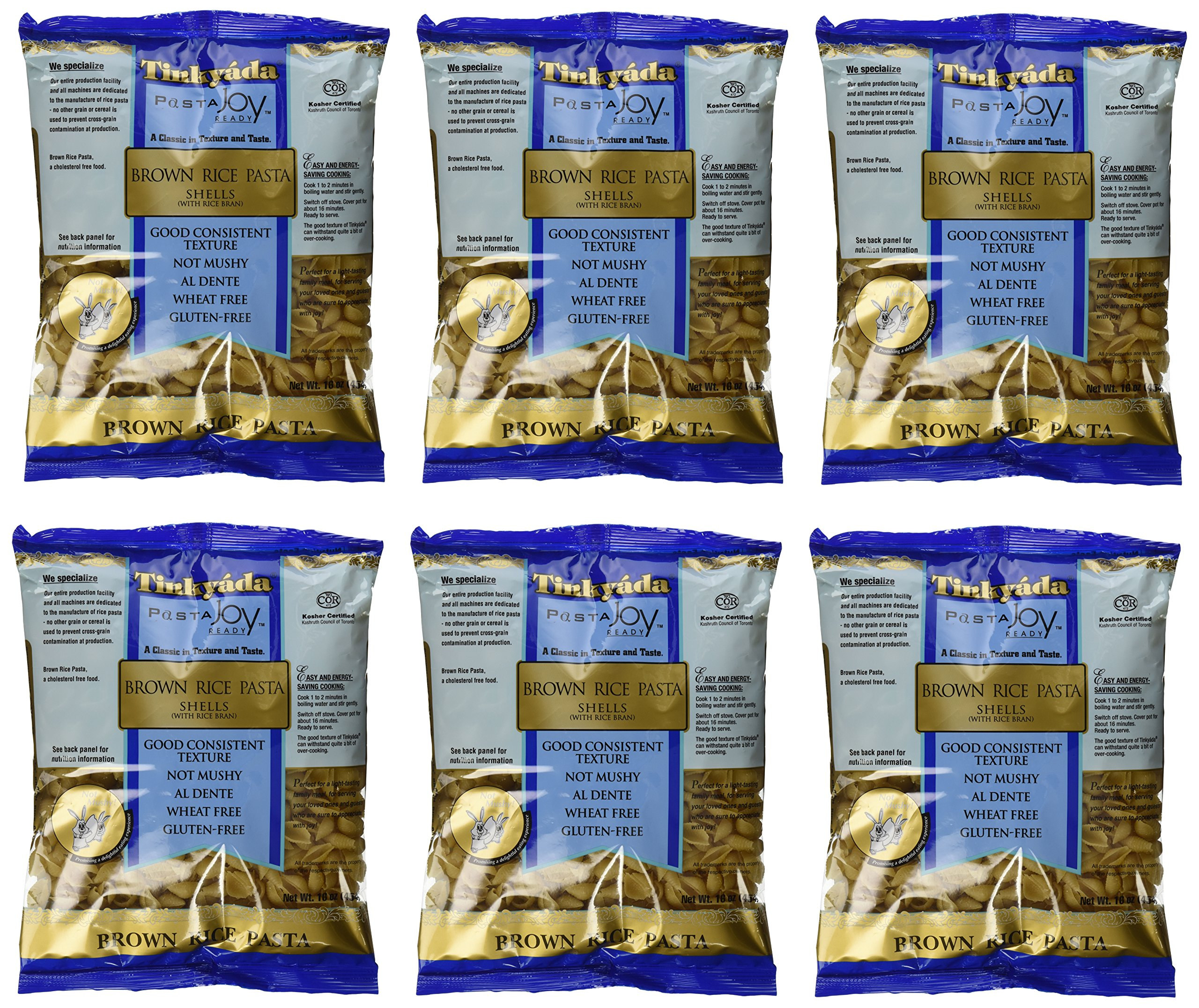 Tinkyada Brown Rice Pasta Shells Gluten Free, 16-Ounce (Pack of 6) by Tinkyada