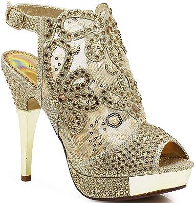 7ab001841da5 Enzo Romeo Angie15 Womens Open Toe High Heel Wedding Rhinestone Mesh Sling  Back Sandal Wedge Shoes