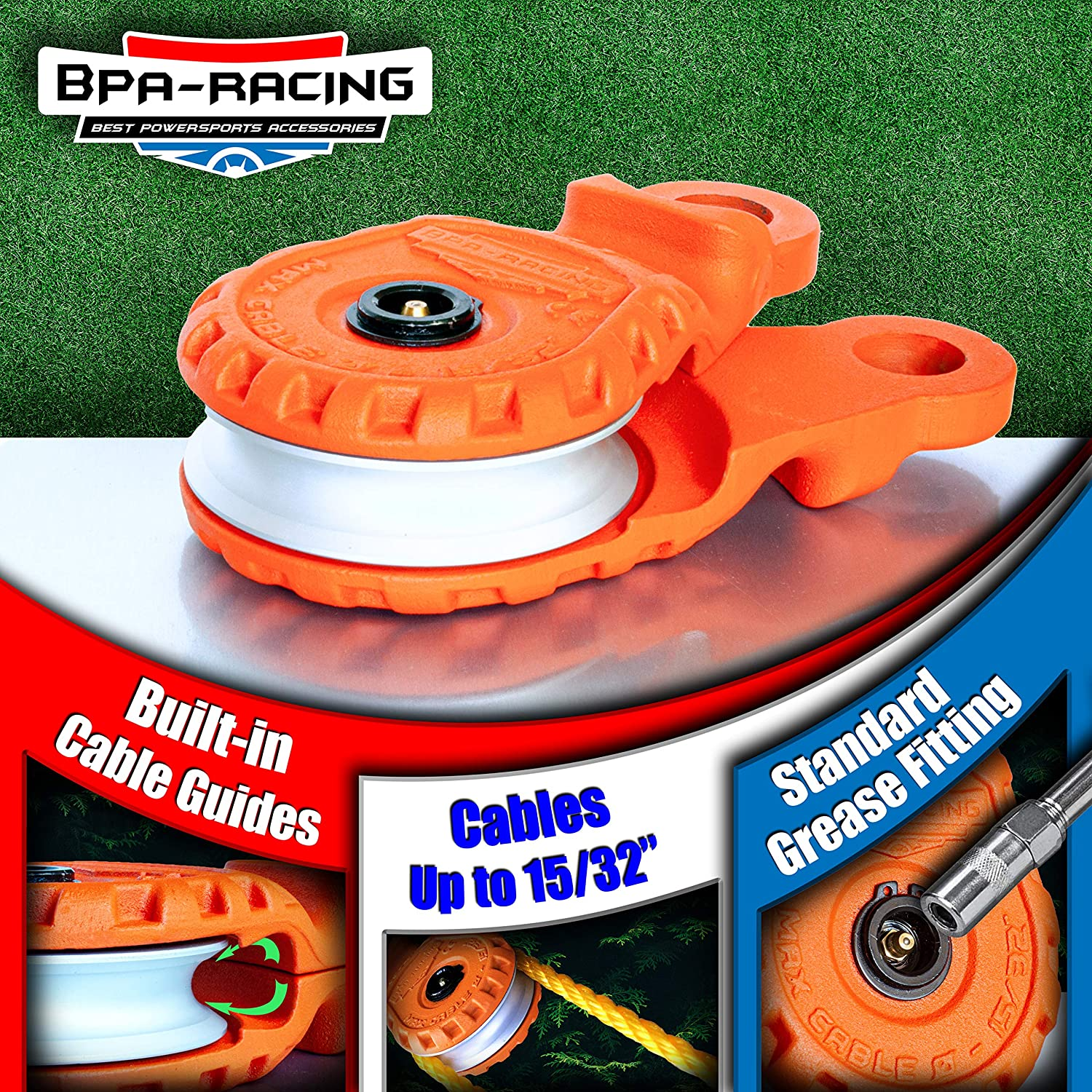 """BPA-RACING 10-Ton Snatch Block Heavy Duty Winch Accessories Pulley Block With Easy Grip Handle Works With 3//4 D-Rings /& Synthetic Rope up to 15//32/"""" Offroad Recovery Emergency Kit"""