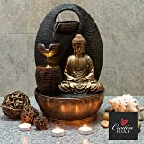 Golden Buddha with 3 Water Cups Indoor Water Fountain with LED Light | Size 25*25*40 Cm | 3 Pin UK Plug Included |