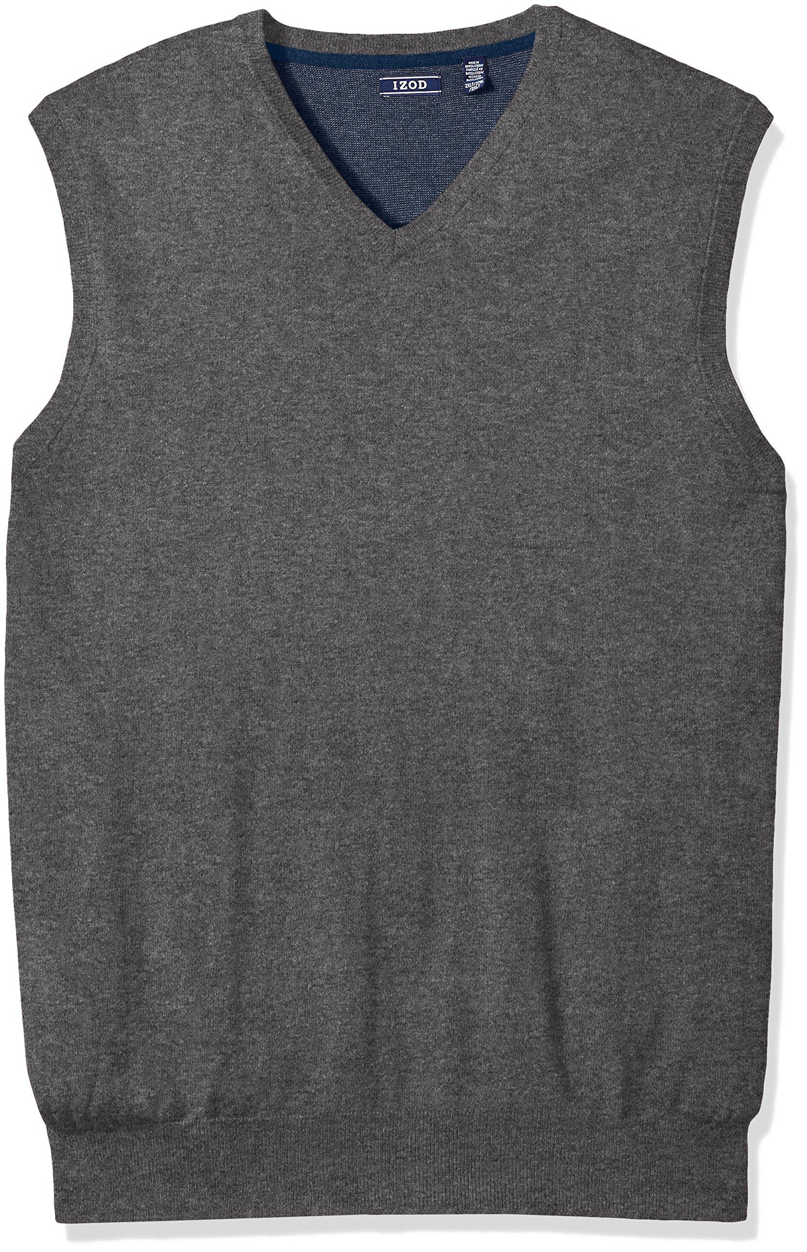IZOD Men's Big Fine Gauge Solid Sweater Vest, Carbon Heather, X-Large Tall