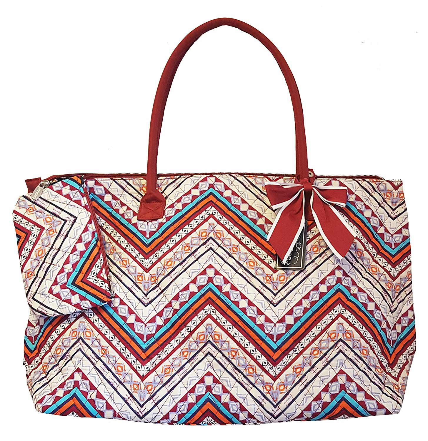 2e0fdea4ec0 Amazon.com   SazyBee Large Quilted Tote - Custom Embroidery Available  (Burgundy Boho Wave)   Travel Totes
