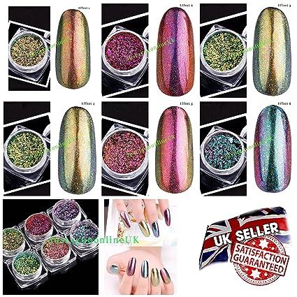 Uñas Postizas de Gel con purpurina cromado Chameleon polvo 2 G espejo pigmento tóner Holo copos