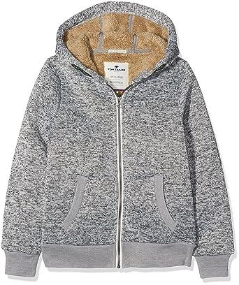TOM TAILOR Kids Jungen Jacke Knitted Jacket with Teddy fur, Grau (Medium  Grey Melange f7a86d5858