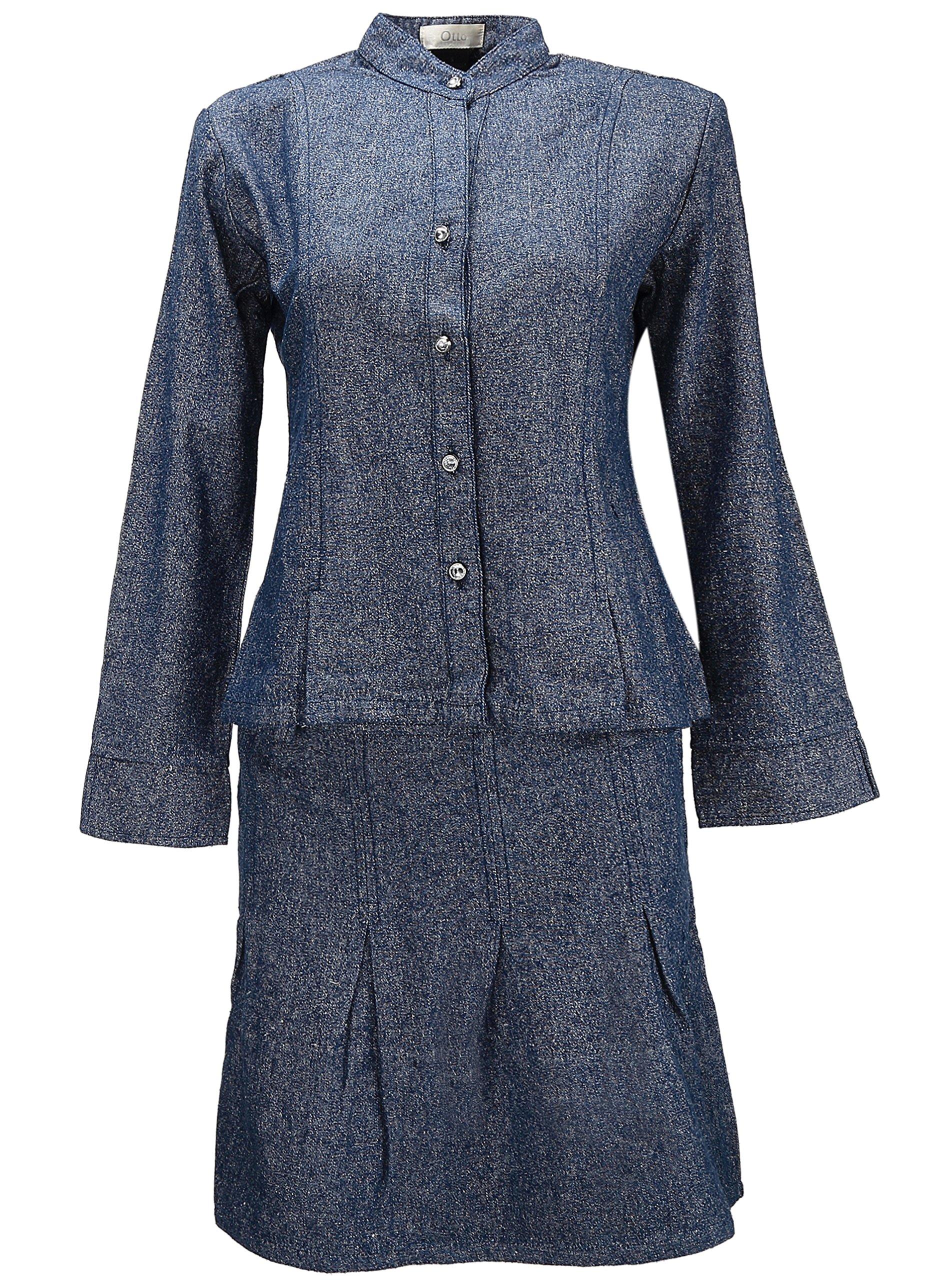 GEEK LIGHTING Women's Classic Denim Straight Curvy Fit Skirt Suit Dark Heather Large