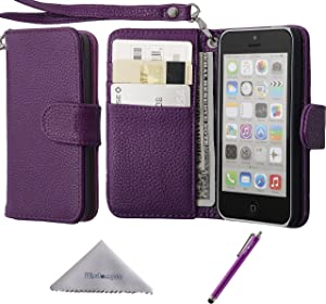 Wisdompro iPhone 5c Case, Premium PU Leather 2-in-1 Protective Flip Folio Wallet Case with Multiple Credit Card Holder/Slots and Wrist Lanyard for Apple iPhone 5c (Purple)