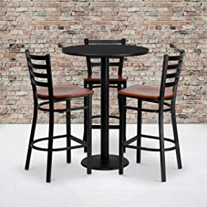 Flash Furniture 30'' Round Black Laminate Table Set with 3 Ladder Back Metal Barstools - Cherry Wood Seat