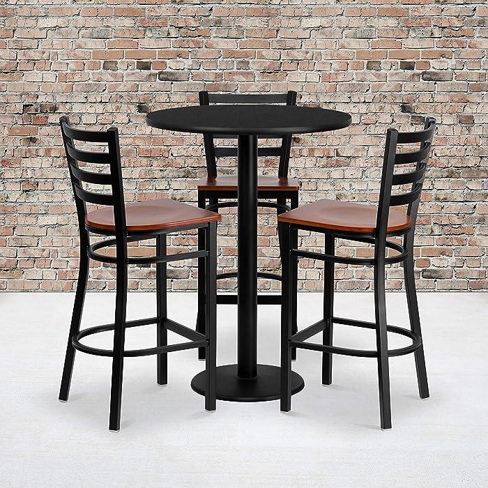 Flash Furniture 30'' Round Black Laminate Table Set with 3 Ladder Back Metal Barstools - Cherry Wood Seat
