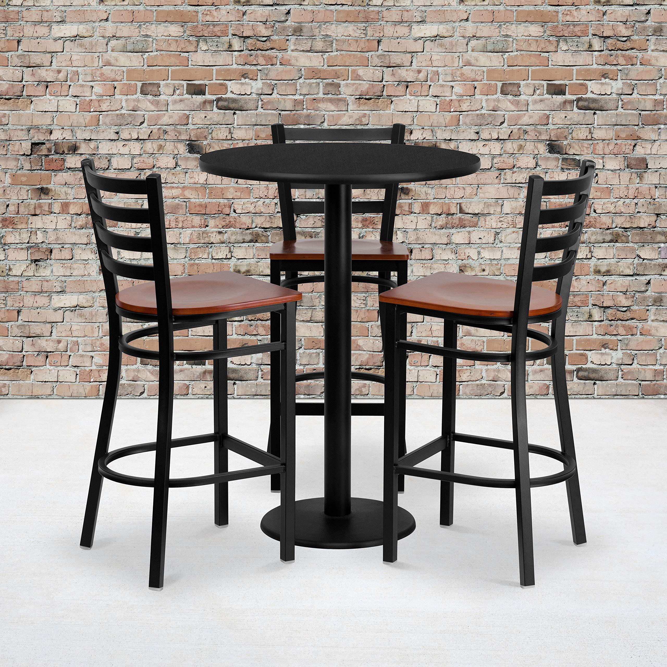 Flash Furniture 30'' Round Black Laminate Table Set with 3 Ladder Back Metal Barstools - Cherry Wood Seat by Flash Furniture