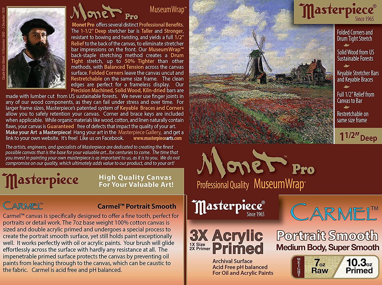 3X 8 x 10 Carmel Portrait Smooth Cotton 10.3oz Masterpiece Artist Canvas 43218 Monet PRO 1-1//2 Deep