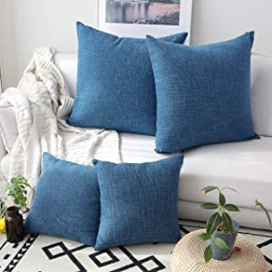Kevin Textile 4 Packs Decor Woven Fine Burlap Lined Linen Pillowcases, 18 Inch Cushion Covers for Sofa, Navy Blue