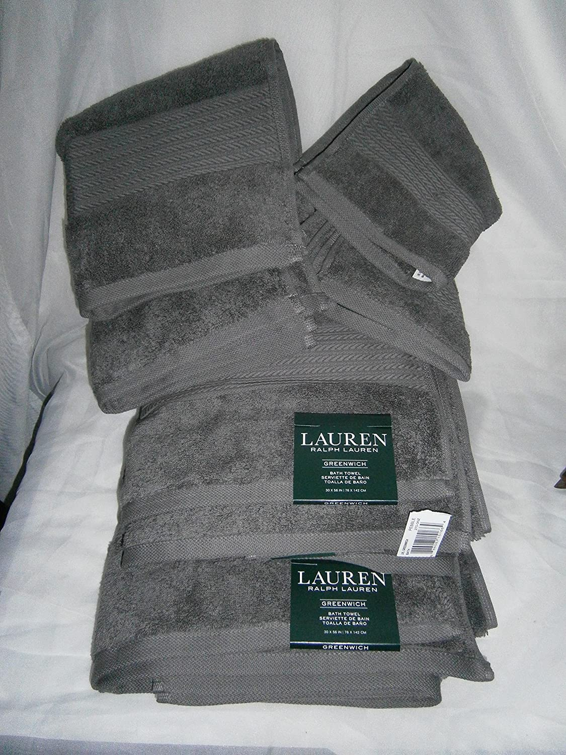 Lauren Greenwich Dark PEBBLE Grey / Gray Towels Six Piece Set - 2 Bath, 2 Hand, 2 Washcloths polo Ralph Lauren