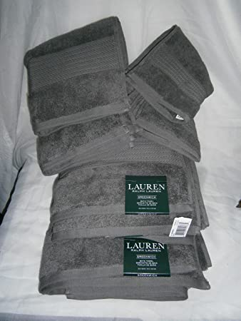 Lauren Greenwich Dark PEBBLE Grey / Gray Towels Six Piece Set - 2 Bath, 2