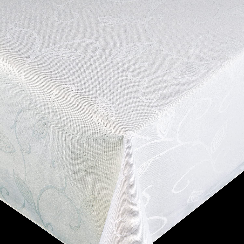 Original FLAIR ROYAL Jacquard Stofftischdecke LFGB Breite & Länge wählbar Romanze Weiss Lotus Effekt Tischdecke Eckig 100 x 220 cm B07C9H9WML Tischdecken