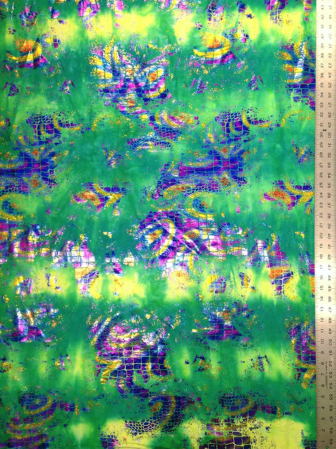 Holographic Shiny Foil Big Reptile Pattern on Bright Stretch Crease Nylon Spandex Fabric By the Yard Green