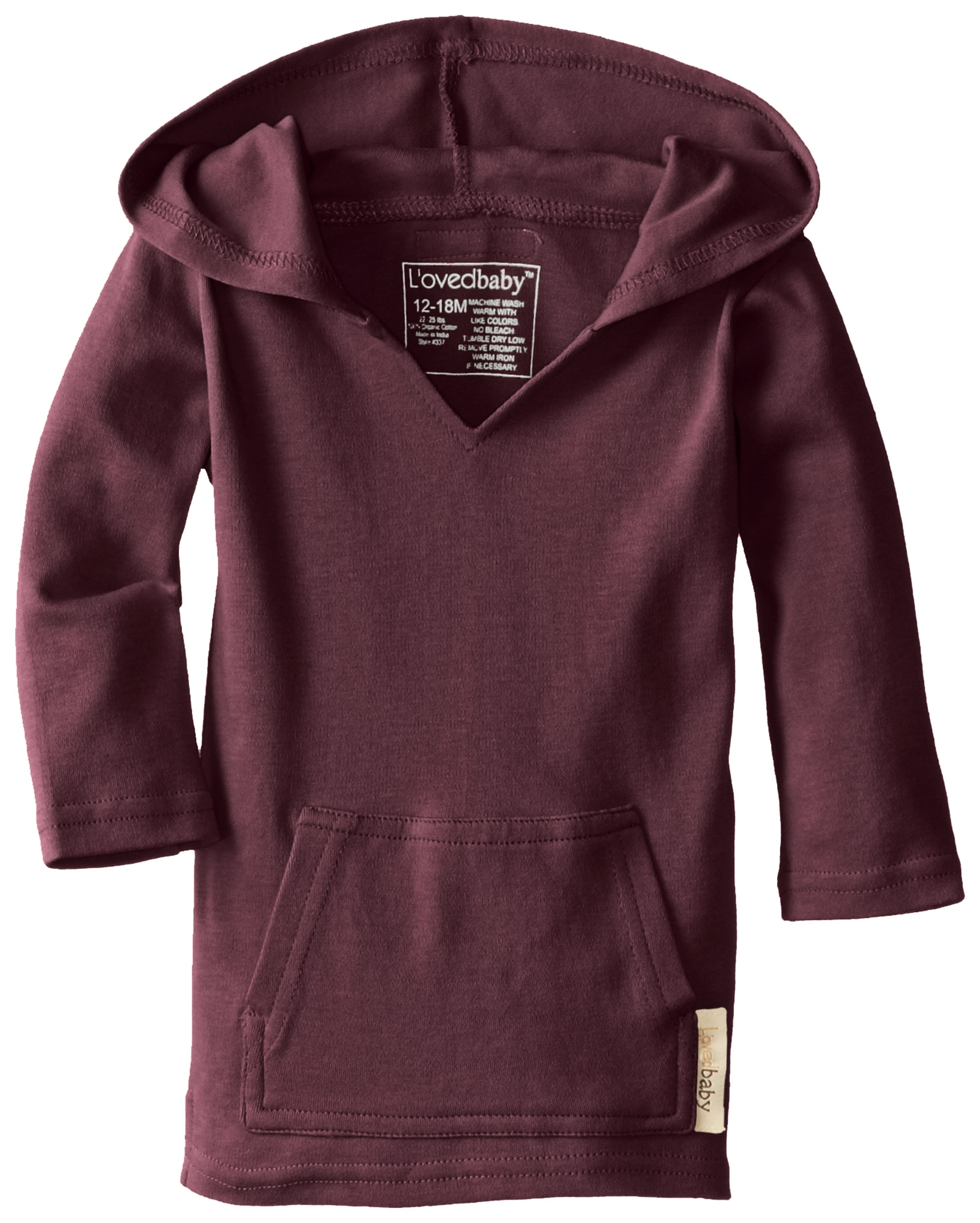 L'ovedbaby Unisex-Baby Newborn Organic Hoodie, Eggplant, 12/18 Months by L'ovedbaby (Image #1)